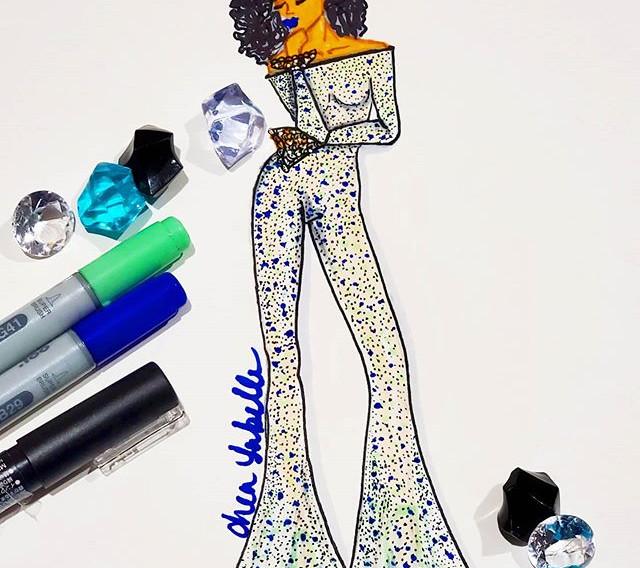 A rhinestone body suit #fashiondesigner