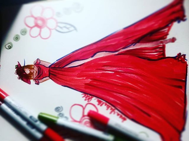 Red wedding dress for a lady in her 50s.