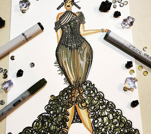 A lil black and green number #fashion_il