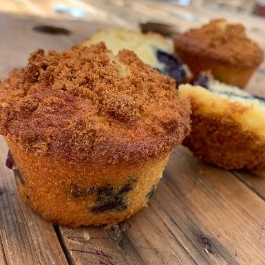 Muffins aux myrtilles et aux biscuits speculoos