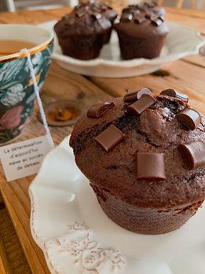 Muffins au chocolat avec coeur coulant au Nutella