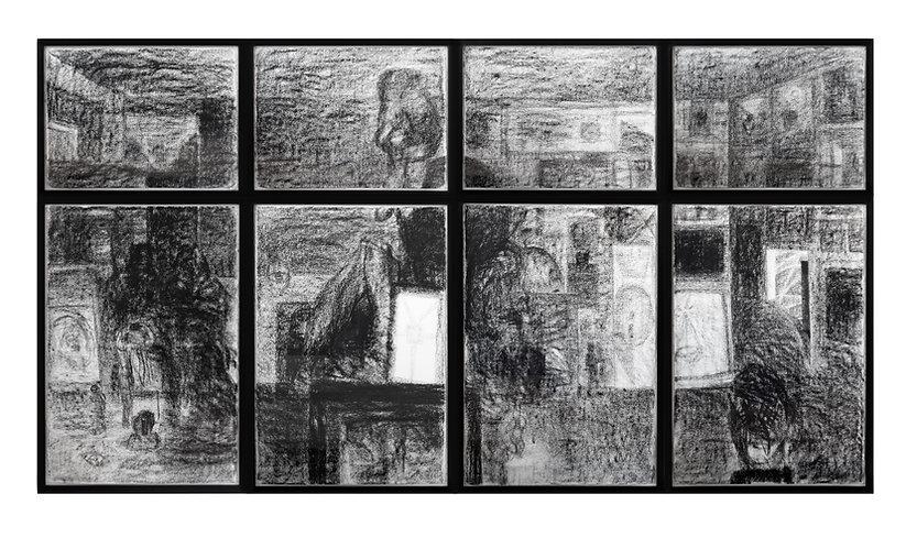 Vista (2012),Charcoal on paper, wood gla