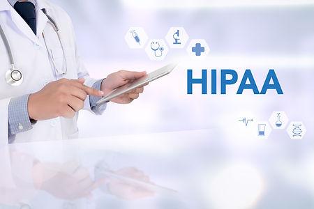 HIPAA Medicine doctor working with compu
