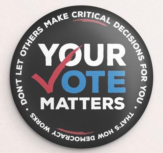 YOUR VOTE MATTERS Hemp Button by Brooke Fischer