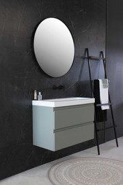 Roots baderumsmøbel 80 cm mat betongrøn lakeret og håndvask i blank hvid porcelæn