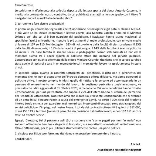 """IN RISPOSTA ALLA RUBRICA """"LETTERE AL DIRETTORE"""" DE il MATTINO - 22/03/2021"""