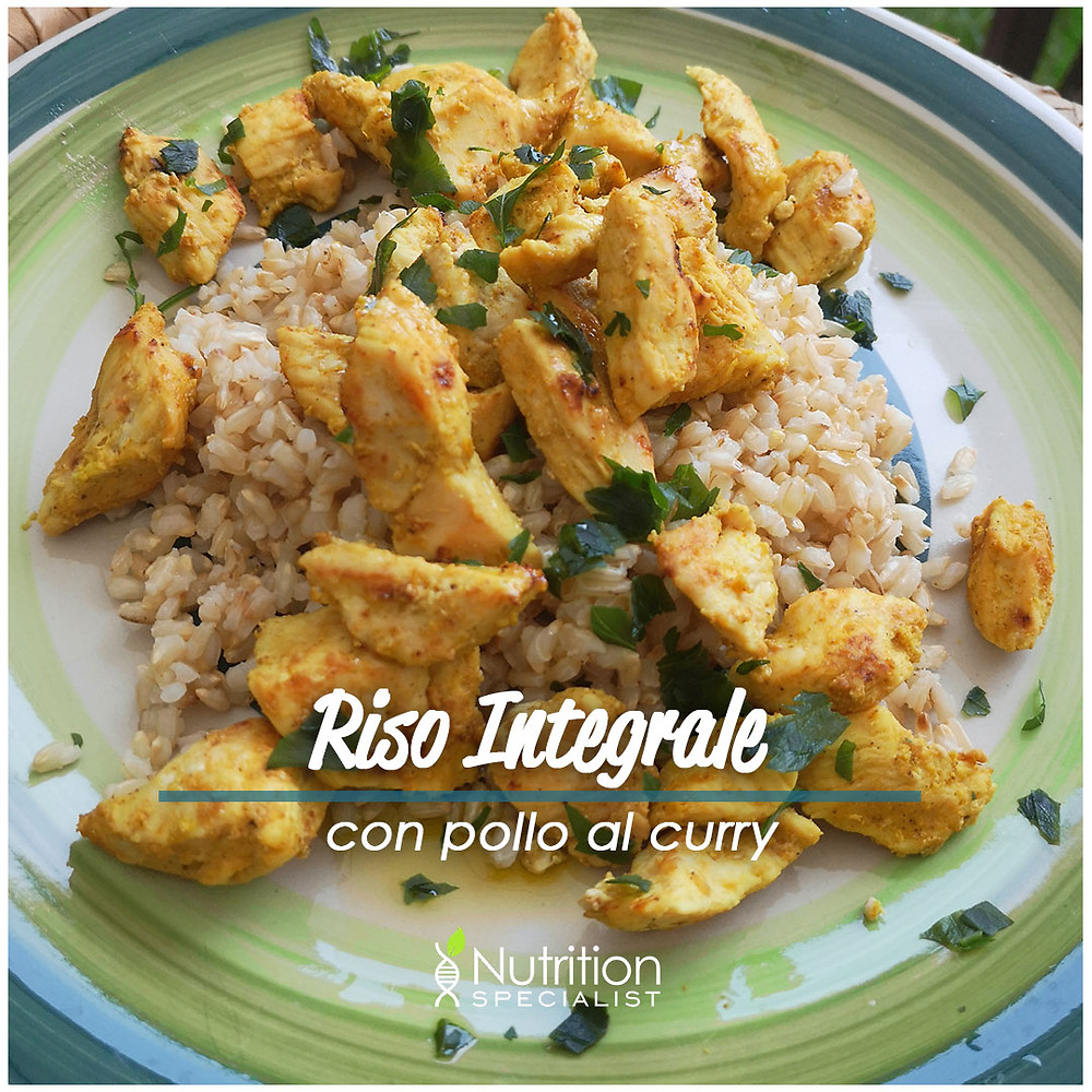 Riso integrale con pollo al curry