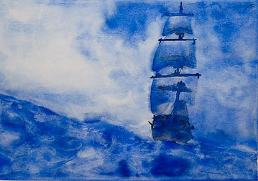 Aquarela Navio em Mar