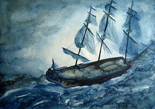 Aquarela Navio em Aventura