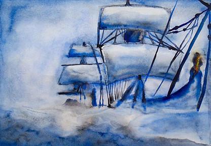 Aquarela Navio em Tempestade