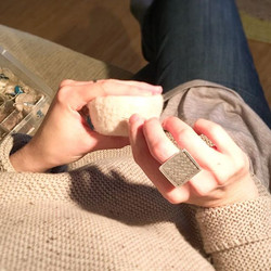Hanging at my bestie _antler_studio 's house and stitching teeny details on little felt vessels
