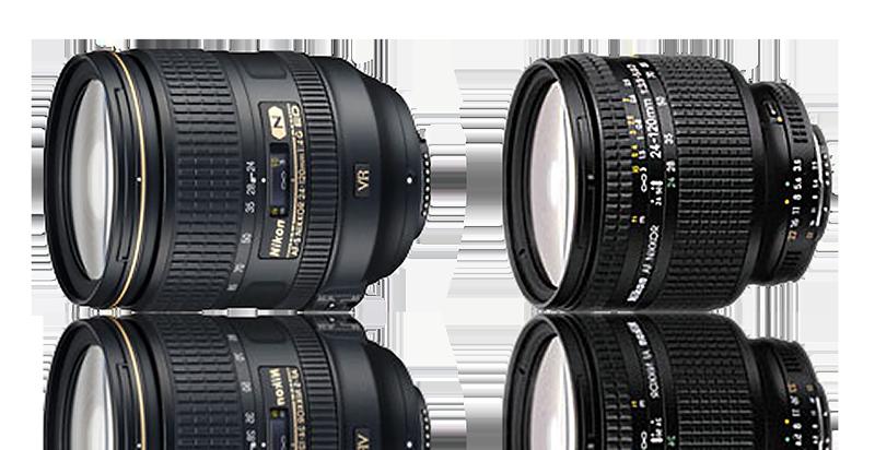 The AF-S version of the Nikon 24-120mm lens; (r.) the AF version of the Nikon 24-120mm lens.