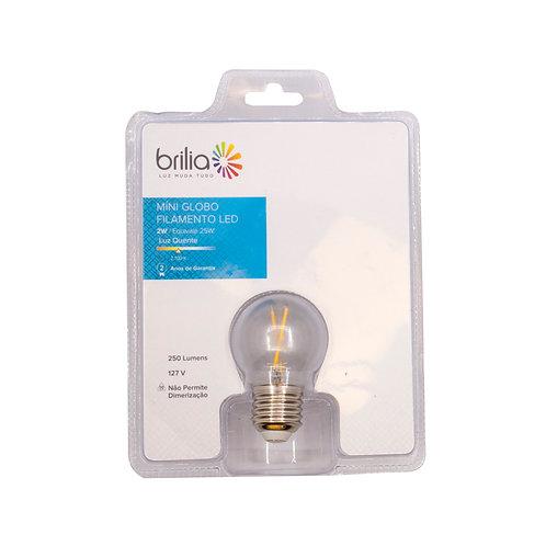 Mini Globo Filamento LED 2W 2700k Amarelo 250 Lum.