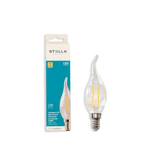Vela Chama filamento Stella 2W 2400k Amarela 200 Lum.