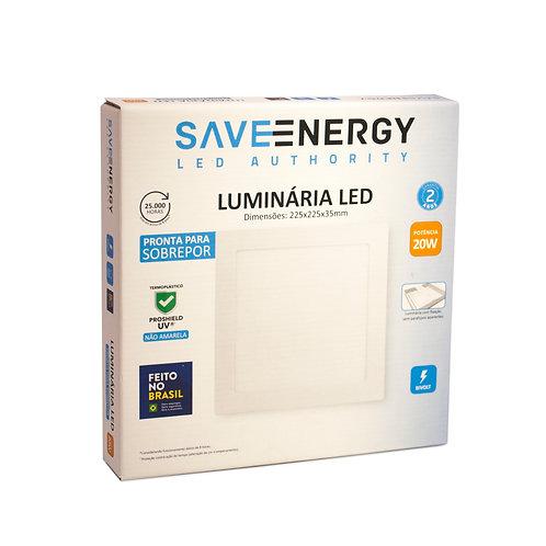 Painel LED Save Energy 20W 22x22 3000k Sobrepor