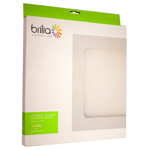 Painel LED Brilia 29,5x29,5 24W 3000k Embutir