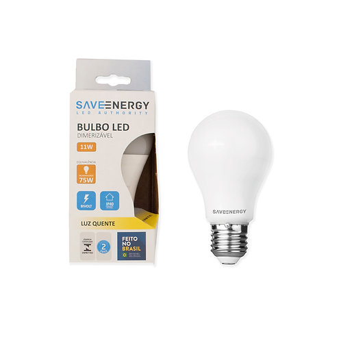 Bulbo Dimerizável Save Energy 11W bivolt 2700k.