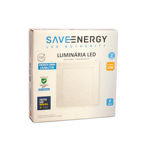 Painel LED Save Energy 12W 17x17 4000k Embutir