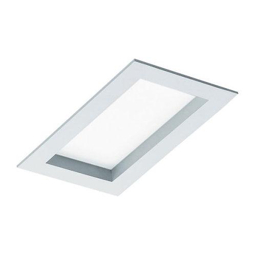 Plafon de embutir com visor recuado em acrílico para lâmpadas Fluorescentes