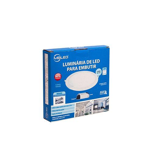 Painel LED MBLED 12 cm 6W 6000k Redondo Embutir