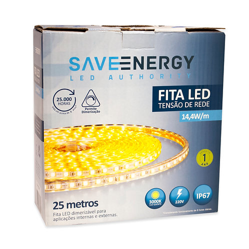 Fita LED Save Energy IP67 14,4W 3000k Amarela
