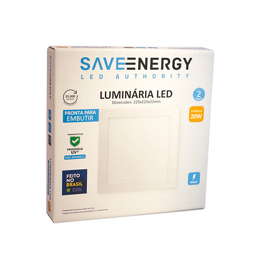 Painel LED Save Energy 18W 22x22 3000k Embutir