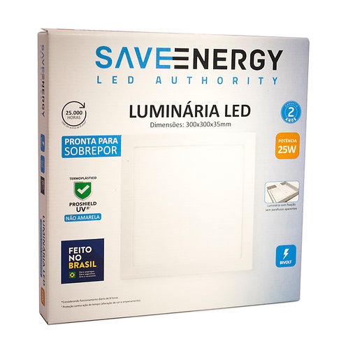 Painel LED Save Energy 30x30 25W 4000k Sobrepor