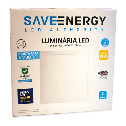 Painel LED Save Energy 40x40 36W 3000k Embutir