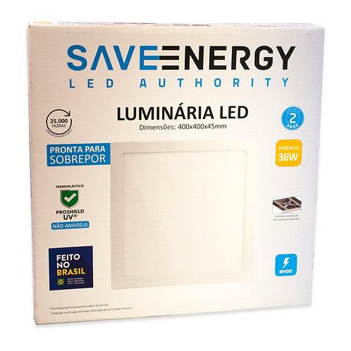 Painel LED Save Energy 40x40 36W 3000k Sobrepor