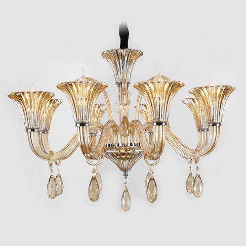 Lustre champagne com cristais - JLR Iluminação
