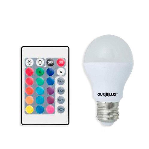Bulbo Ourolux RGB 15 cores pré-programadas 5W