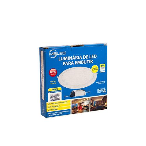 Painel LED MBLED 12 cm 6W 3000k Redondo Embutir