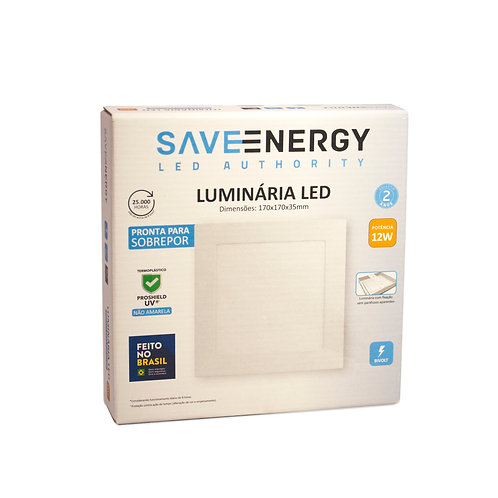 Painel LED Save Energy 12W 17x17 5700k Sobrepor
