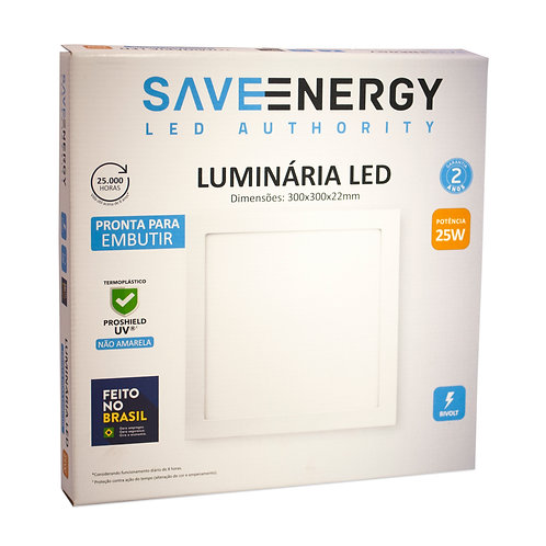 Painel LED Save Energy 3000k 30x30 25W Embutir