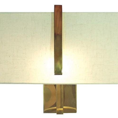 Arandela DUETO dourada em metal e tecido - Chandelie