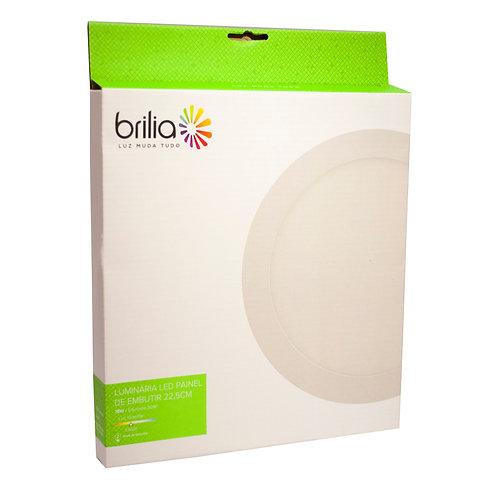 Painel LED Brilia Redondo 22 cm 18W 3000k Embutir