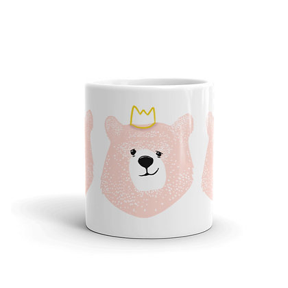 Mug Blanc Brillant | Boo l'Ours Rose