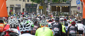 Thousands leaving town on the start of the Sportful Granfondo in Feltre Italy.