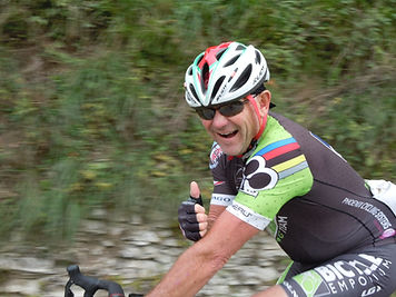 All's Thumbs Up for Mark on the Climb up Monte Grappa.