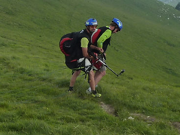 APilot and YCI Client Wait for Good Winds on Their Take Off on Monte Grappa in Italy.