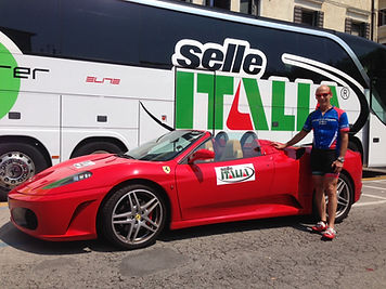 Stu Poses with Selle Italia and Ferrari at the Beginning of the Pinarello Granfondo.