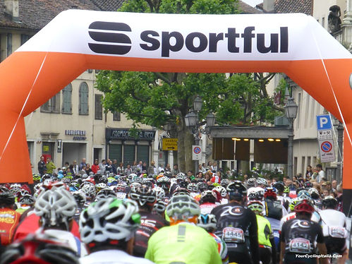 Cyclists Leaving Feltre on the Start of the Sportful Granfondo in Italy in June.