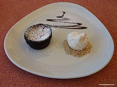 A Bisquick Chocolate Molten Lava Cake for Dessert at YCI's Restaurant.