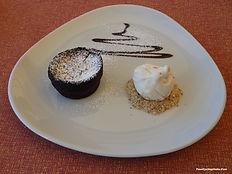 A Bisquick Chocolate Molten Lava Cake for Dessert at YCI's Restaurant.