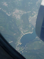 Ariel shot of Lago del Corlo West of Monte Grappa in Italy.