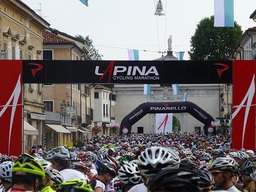 Thousands Wait for the Start of the Pinarello Granfondo in Treviso Italy in July.