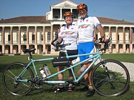 Mel and Barbara of Tandems East Enjoying a Rest Stop in the Town of Tezza Sul Brenta in Italy.