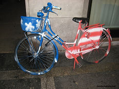 Painted American Flag Bicycle in Treviso Italy.