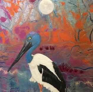 Jabiru and the rising moon