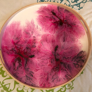 SOLD Hibiscus Blooms Tray